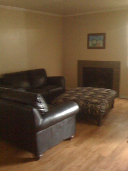 Shared living space if you want to use (website hidden), leather couches, fireplace.