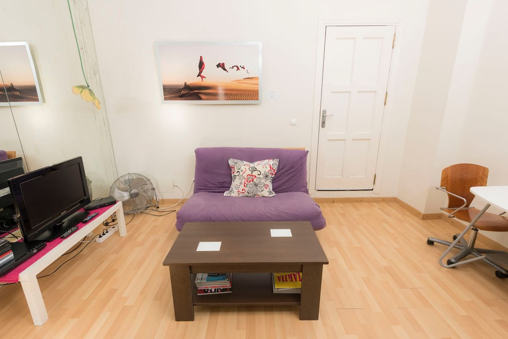 Futon and table