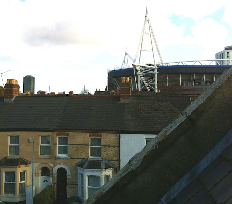 View out of the attic window towards the Millennium Stadium and city centre.
