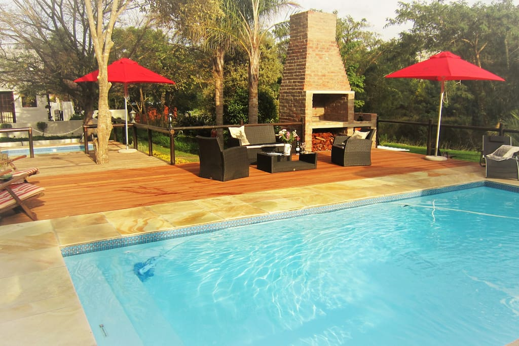 Our pool, bbq & deck area