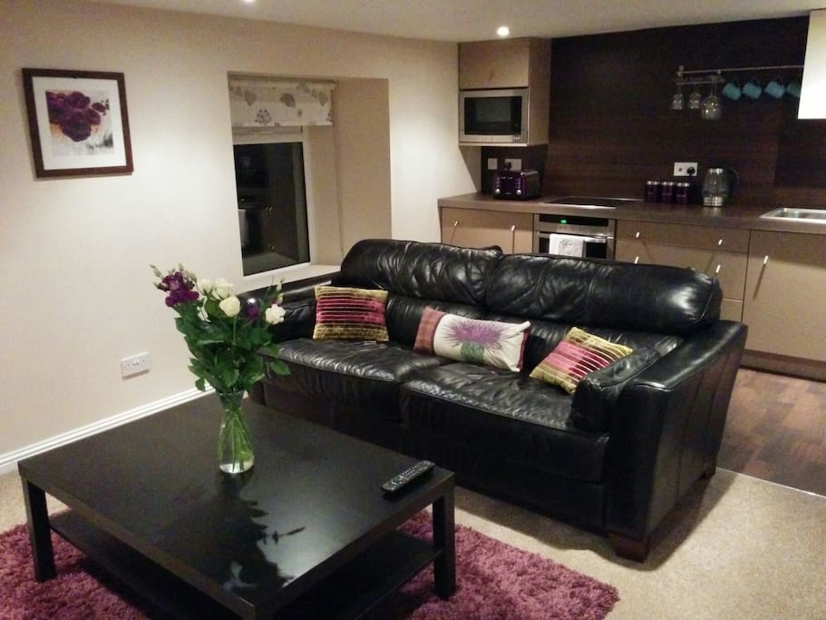 Comfortable living area with kitchen