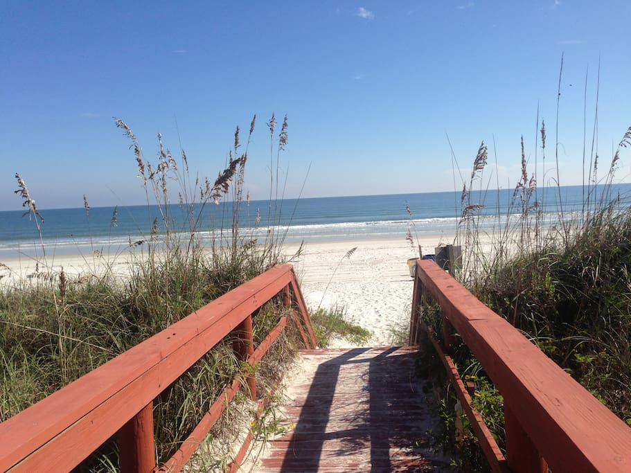 Our walkway and sea oats.