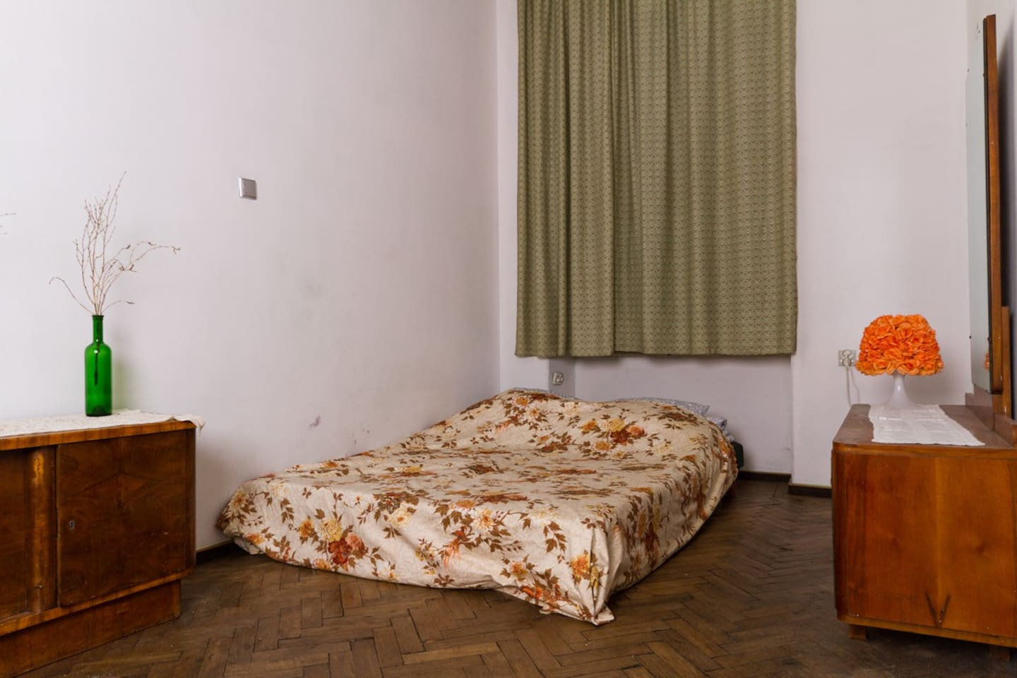 Very Cracow...wooden floor,  old dressing table...