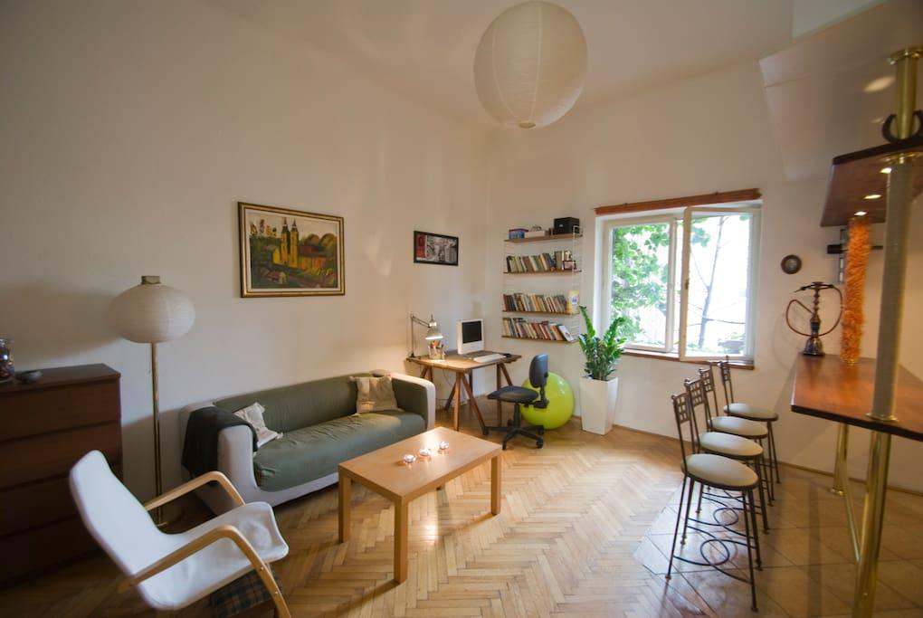 Sunny, calm, garden-facing room
