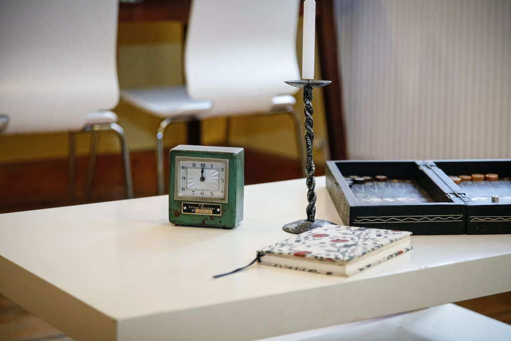 First Room: my guest book and an old backgommon