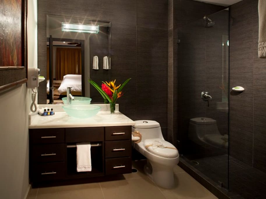 Each bedroom has a bathroom like this one