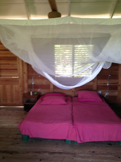 Bed(s) and mosquito net (but few mosquitoes anyway, a nice breeze instead)