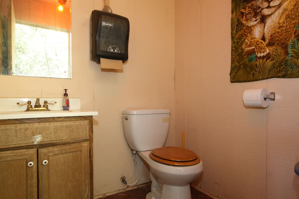 Bathroom less than a minute walk away from the Gingerbread house