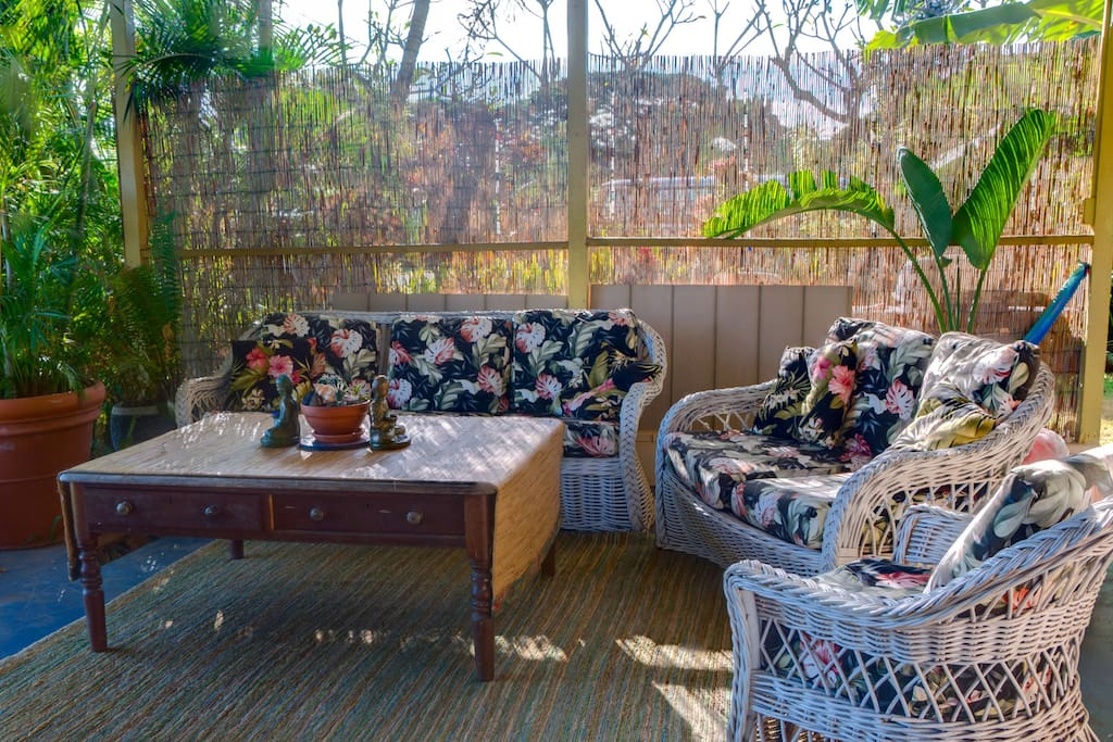Outdoor living room for family gathering or a quiet moment.