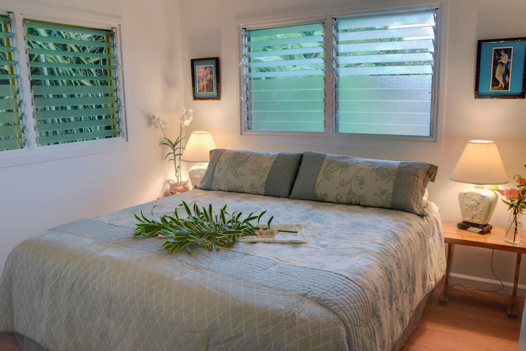 King Bedroom. Windows allow gentle breezes to flow through. Ceiling fan and closet.