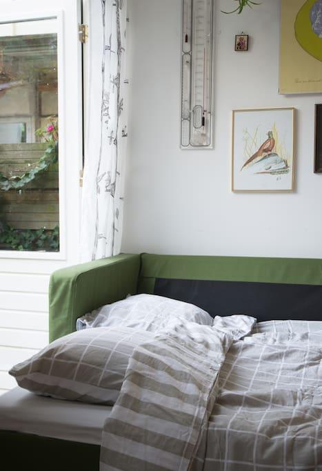 Sofa bed next to the garden.