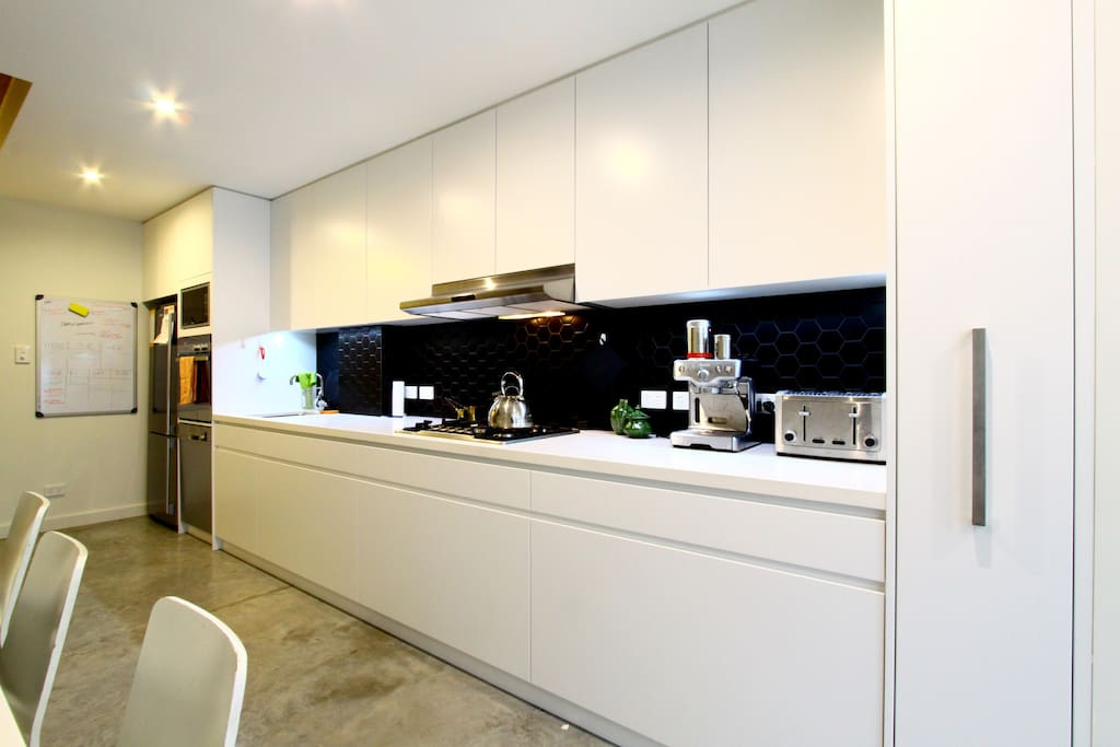 Kitchen, complete with all appliances and a manual coffee machine which makes awesome coffee.