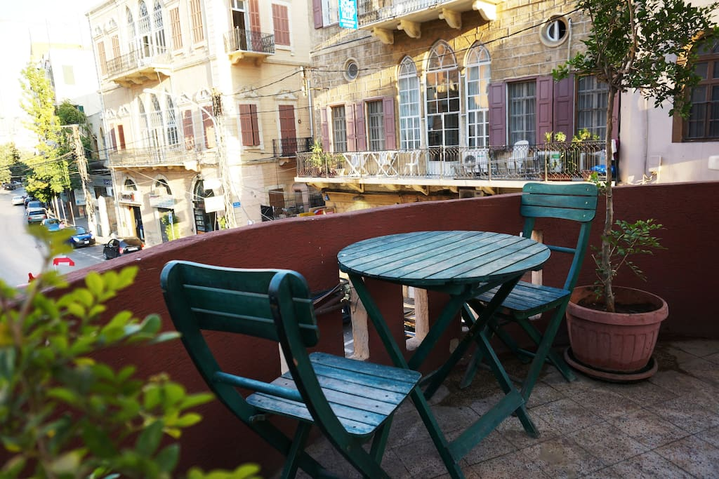 the balcony overlooking the very famous street of Mar Mikhael and Gemayzeh