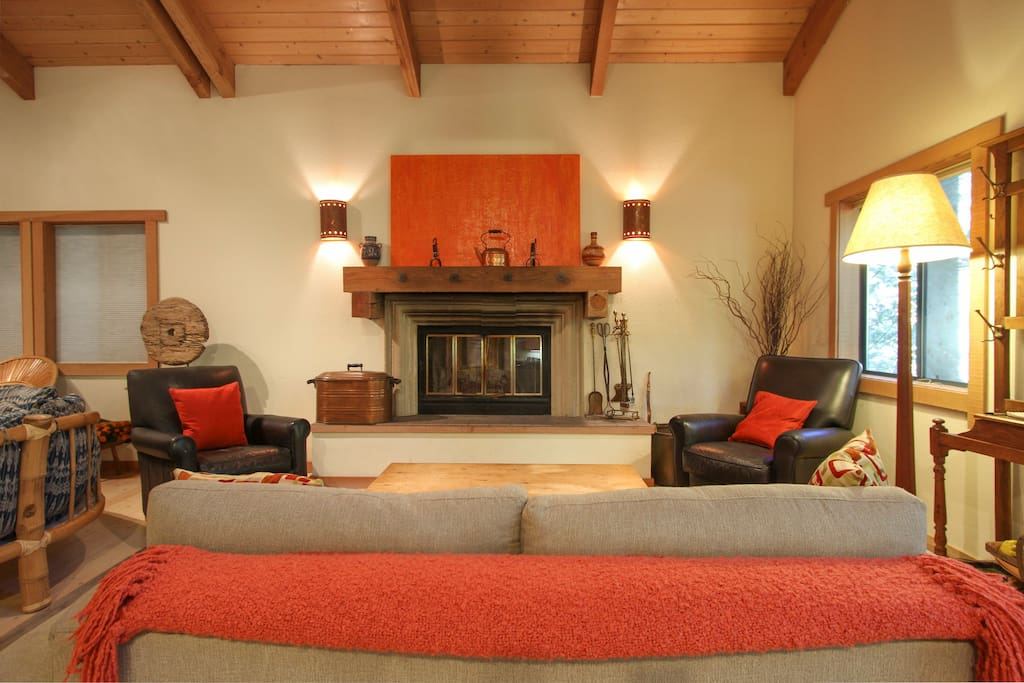 Cozy up in front of the fireplace.  Don't forget to bring your firewood!