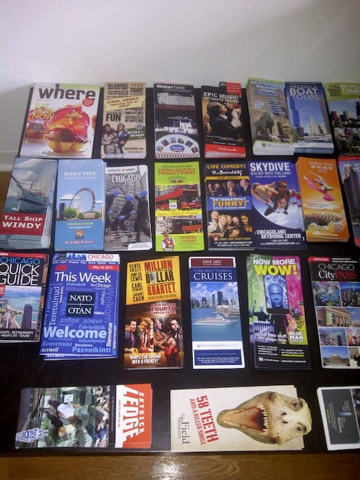Our Chicago pamphlet table for travelers :)