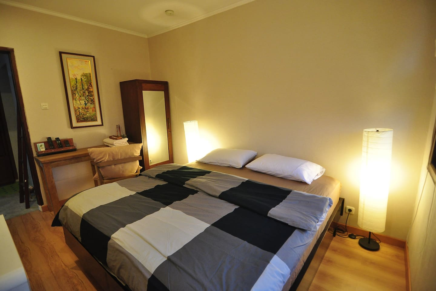 Your Private Room, located at 2nd floor and all yours. White sheet and king size real bed