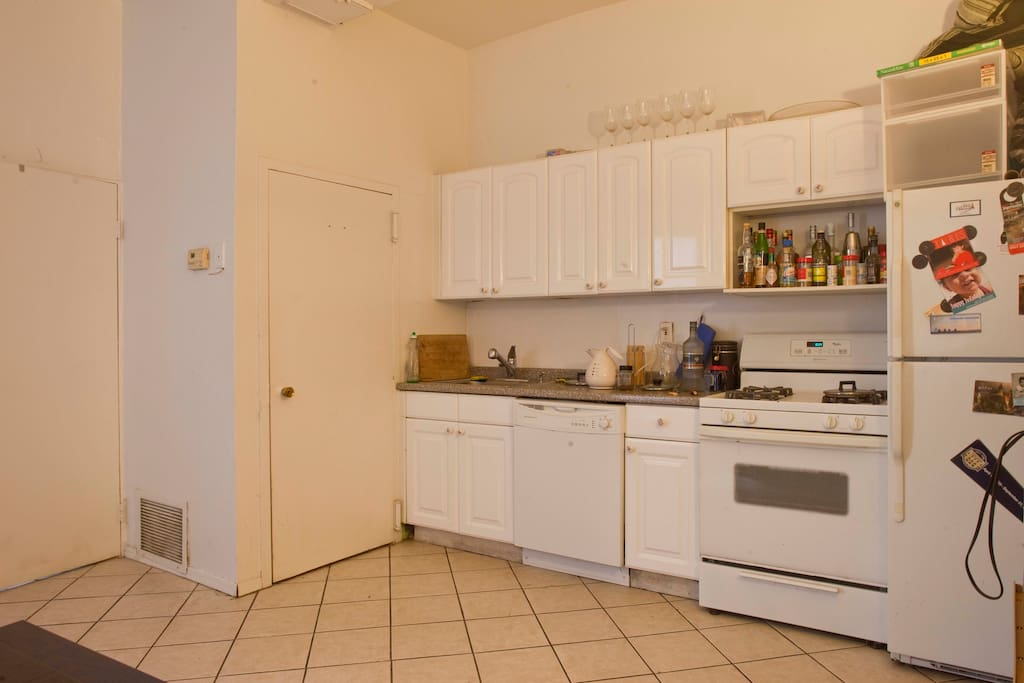 The kitchen has a dishwasher, which makes cooking much more enjoyable. There is also a large kitchen table which isn't shown. If you stay, feel free to cook dinner for yourself ... or us :)
