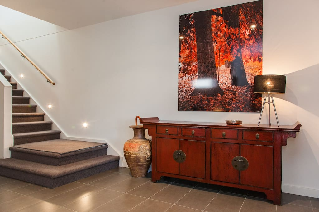 Entry foyer with stunning photo art