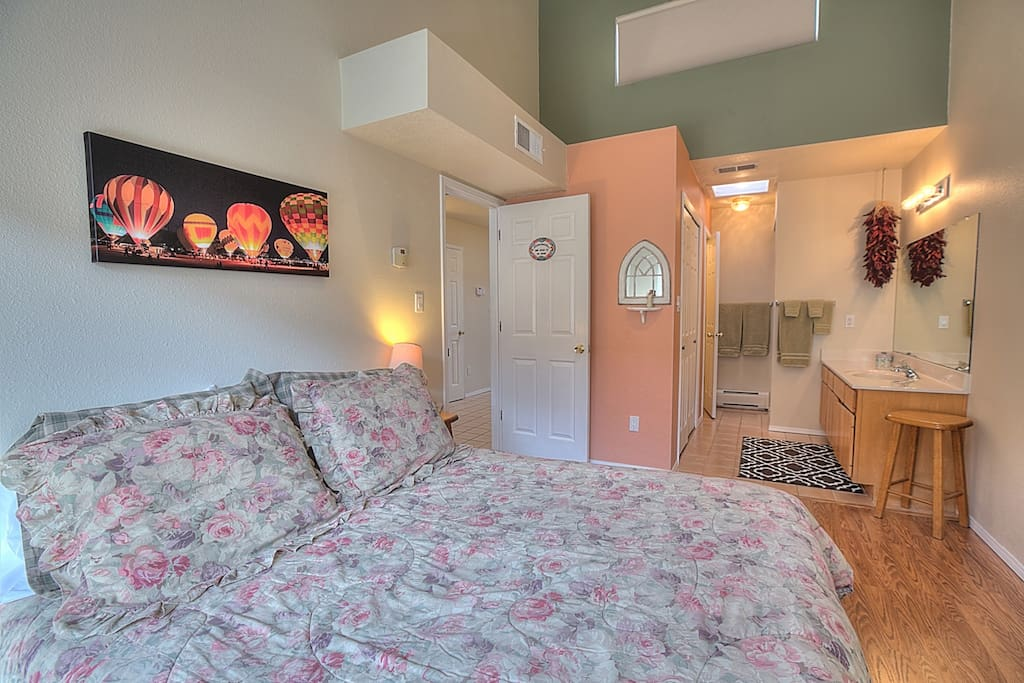 Comfortable Queen bed and private 3/4 bathroom.