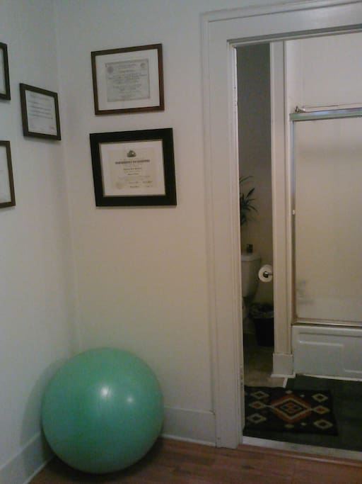 doorway to bath room - feel free to use the bouncy ball
