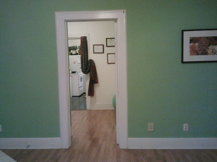 From great room going through office/den to kitchen