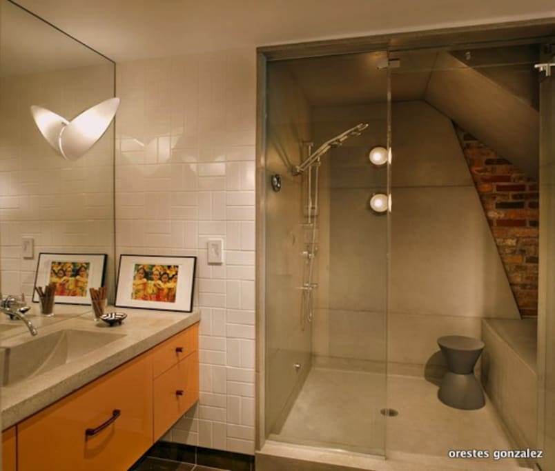 Bath. Concrete Counter. Shower Chamber holds 2 people.