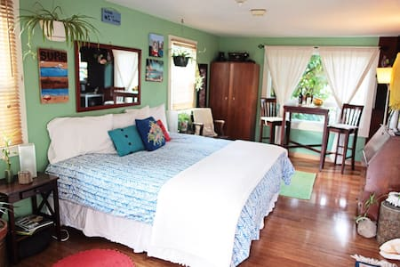 Our studio comfortably fits two offering a very cozy king size bed, a full kitchen and bathroom,bamboo flooring, wood burning fireplace, Swimming pool, hot tub, Organic garden, and Outside fire pit. River & bike path with-in walking distance ....