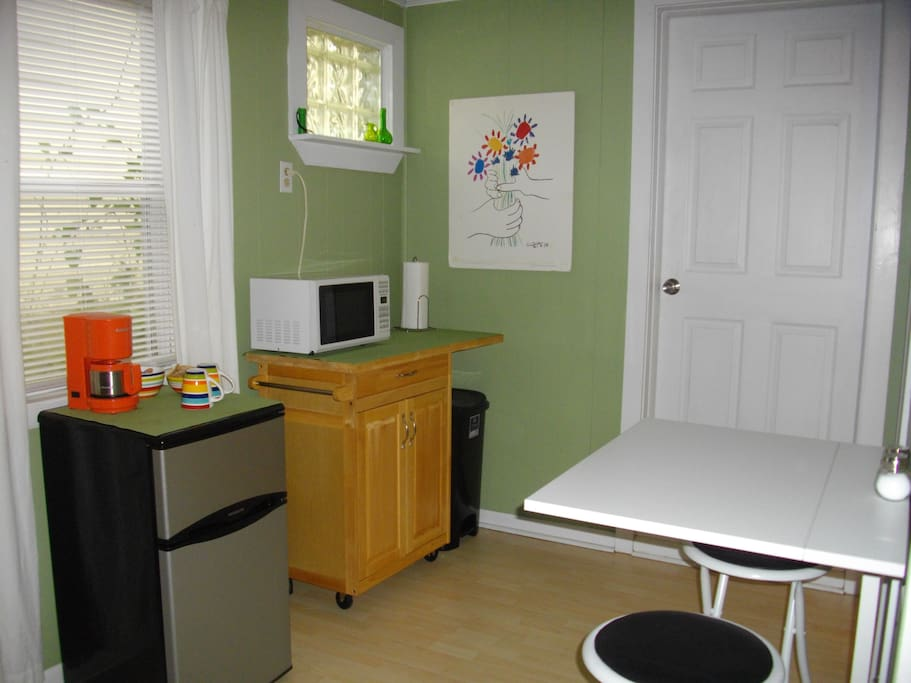 Kitchenette and fold out dining table.