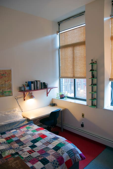 Your luminous bedroom, full-size windows with lots of natural light.