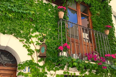 Blue house terrace and balcony - House