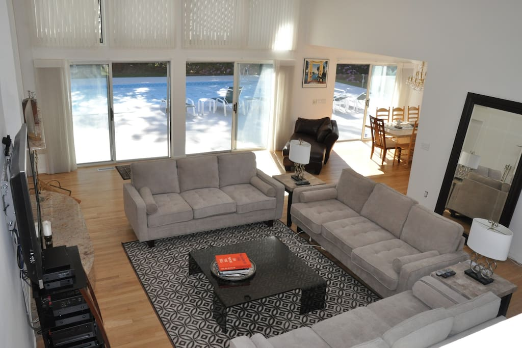 Modern furniture with seating for 9.