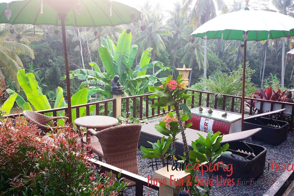 The terrace, long chair and coffee surrounding 180˚ paddies and river
