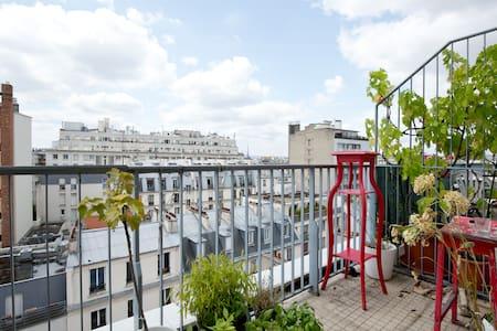 Studio ac terrasse vue TOUR EIFFEL et proche canal - Flat
