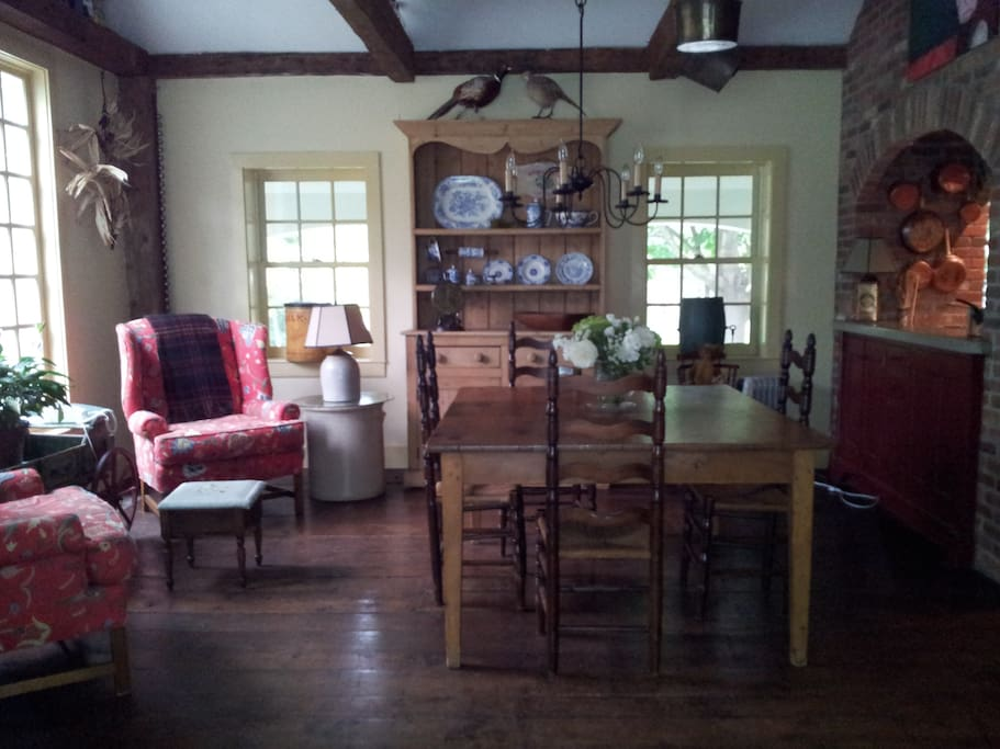 Great room off kitchen and porch for casual dining