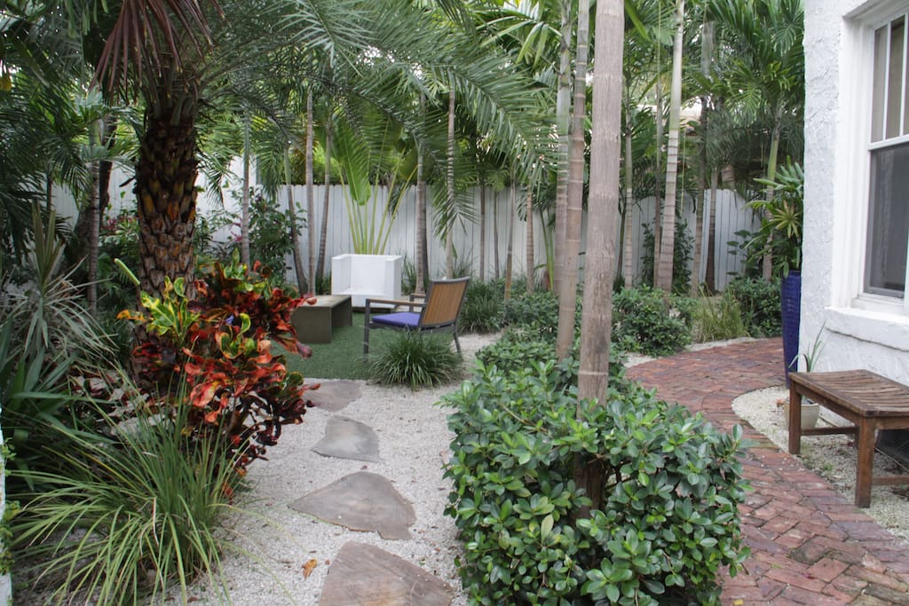 Pathway from Guest Cottage to Tropical Garden and lounging area.