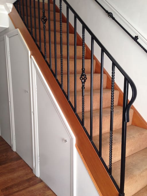 Staircase and storage.