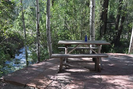 The Deep Creek Stone House is a perfect family or small group getaway. The fully equipped kitchen boasts a 6 burner gas stove, microwave, dishwasher  and BBQ on adjoining deck.  2 private bdr,2bath, 1sleepsofa,2daybeds. Creekside patio,wireless,pets