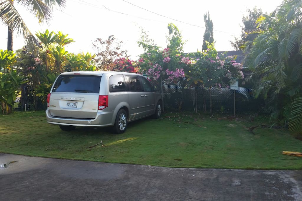 First parking area locared to the left of the driveway on the grass.