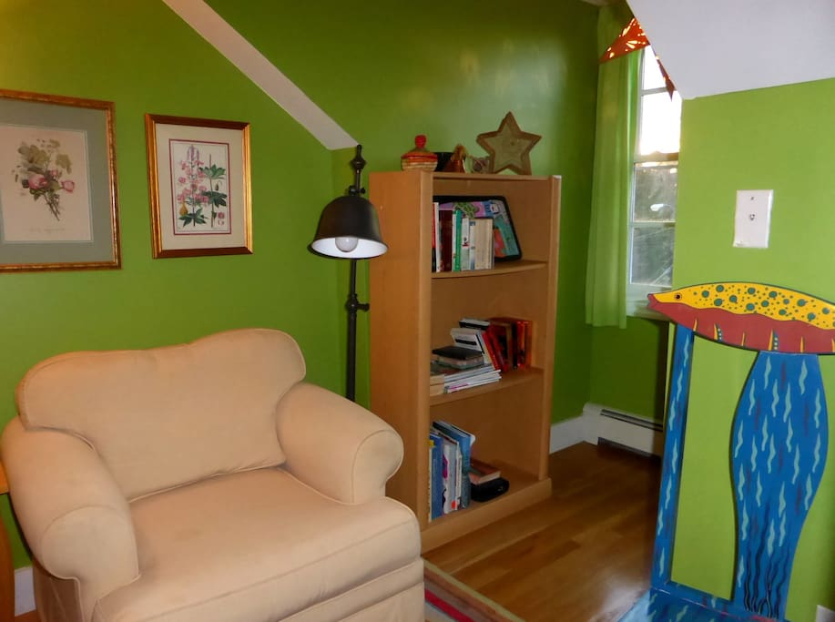 The bookshelf by the window has reading materials and games.