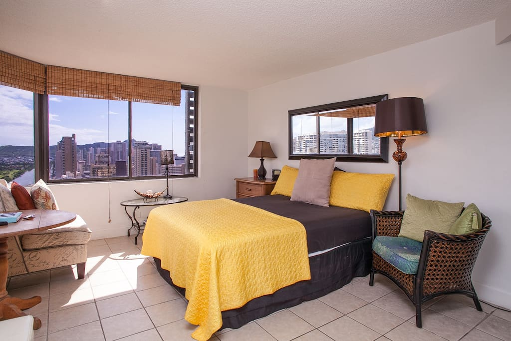 Bedroom #1 with Diamond Head in background.