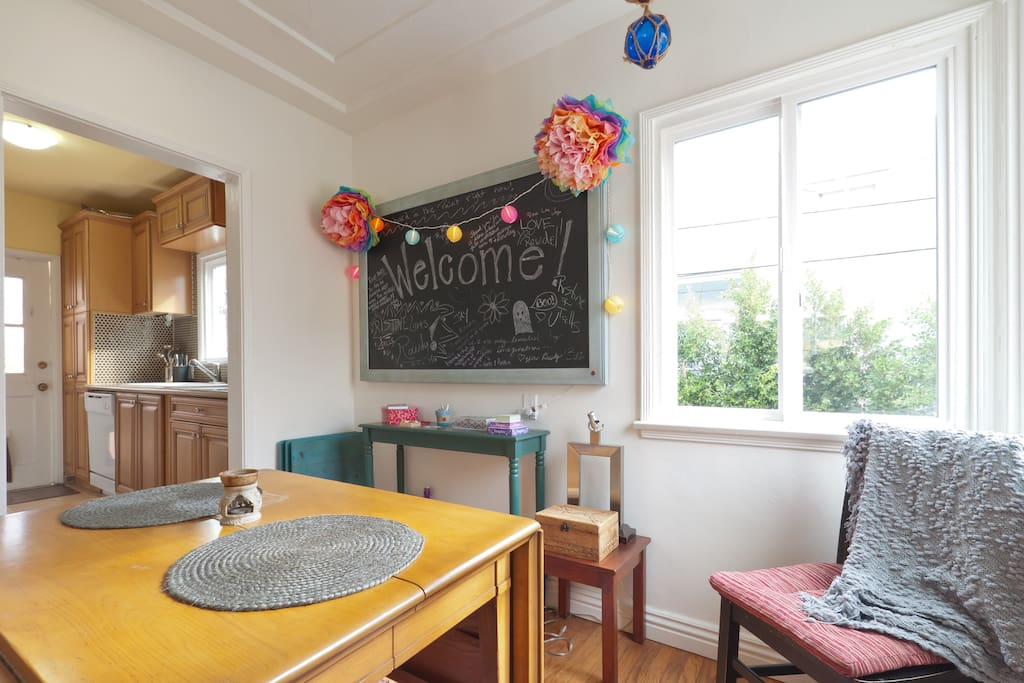 Enjoy a nice cup of tea or a bite in my bohemian dining area and don't forget to leave a message on the blackboard!