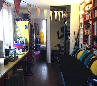 A trendy coloured room in a flat