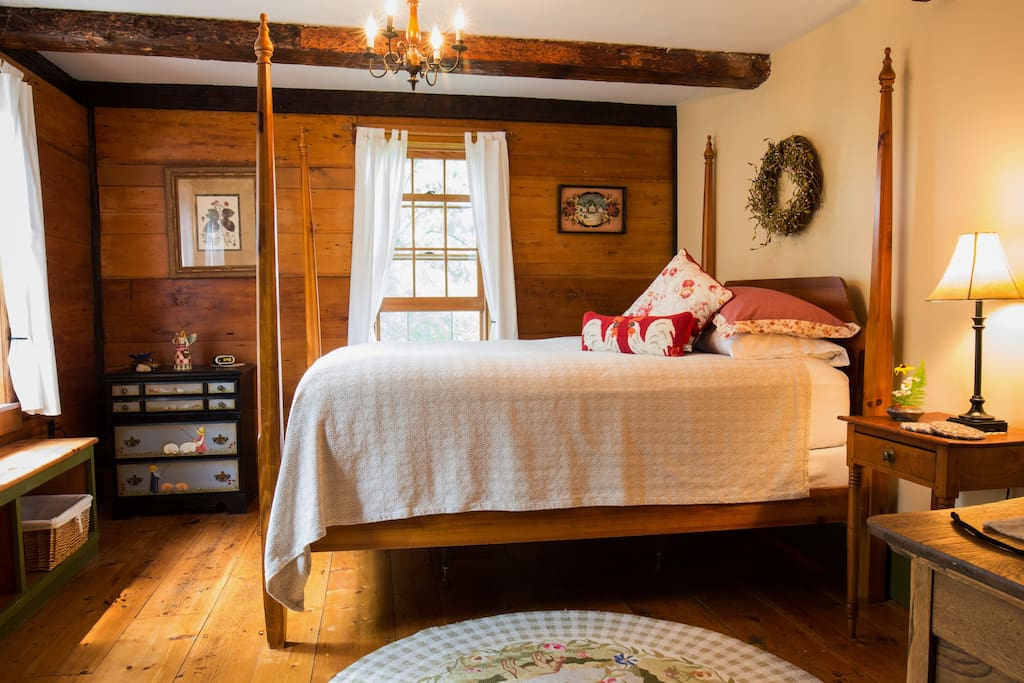 Queen Bedroom with antique four poster bed.