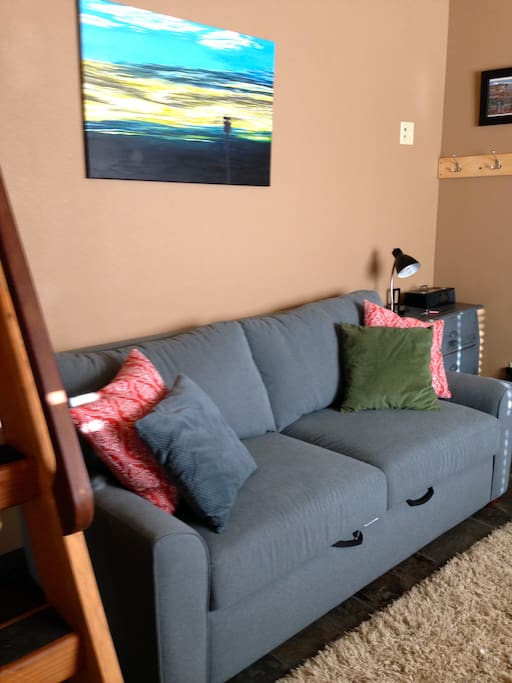 Our American Leather sleeper sofa.  Provides a nice place to kick back at the end of the day!