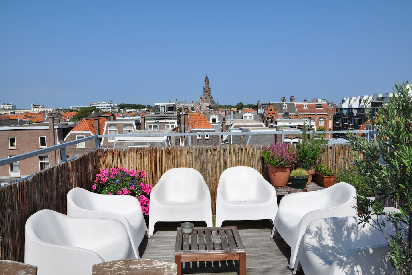 Big roof terrace for your use only with great views over the old centre of The Hague
