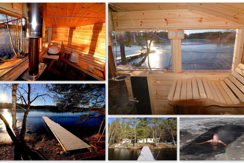 The sauna I made October 2014, next to the cottage and just 5 meters from lake.
