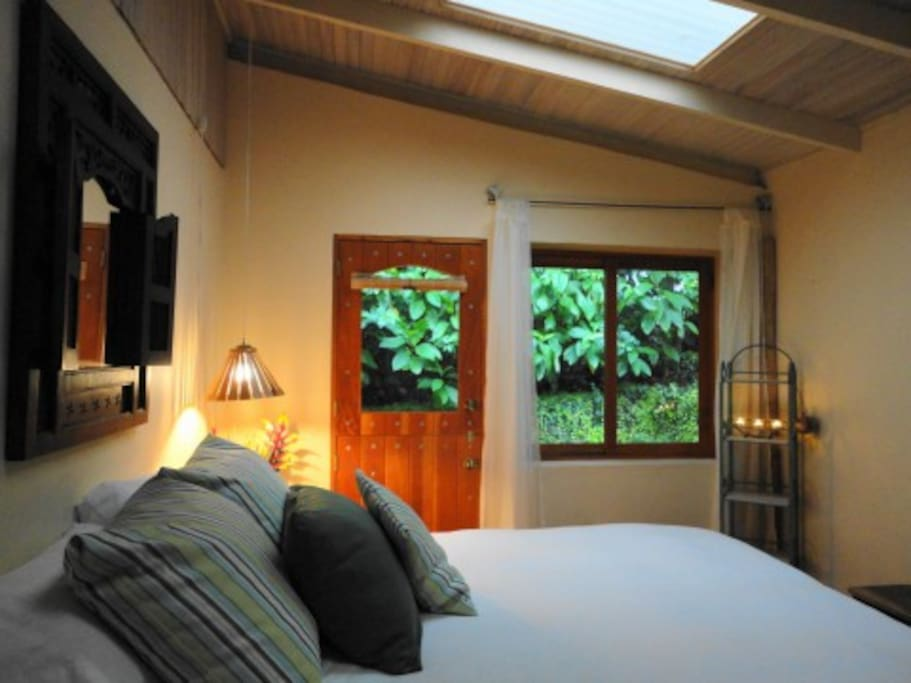 Master bedroom with outdoor garden shower.