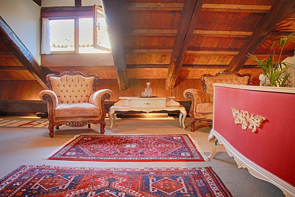 Cosy and Romantic attic with influences of Roberto Cavalli.