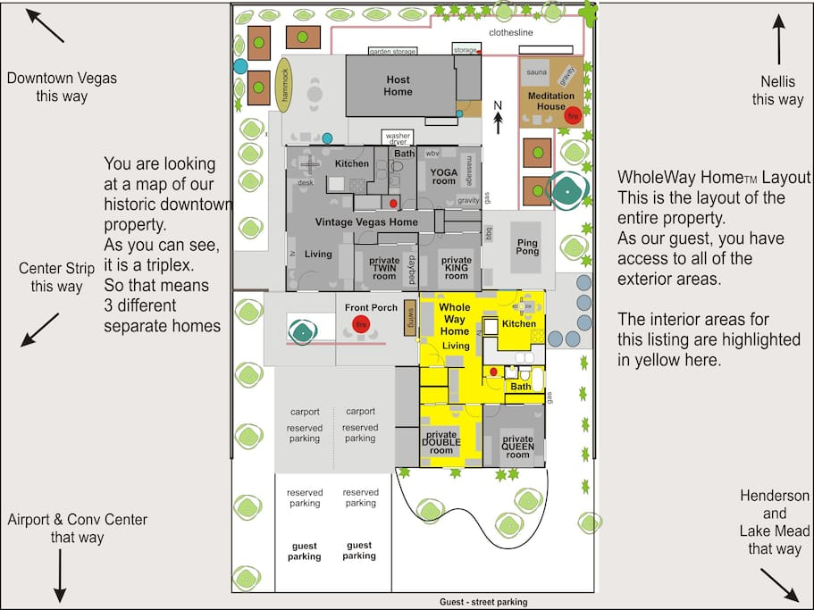 Here is the whole property layout. Each room is identified so you can see where your room is.