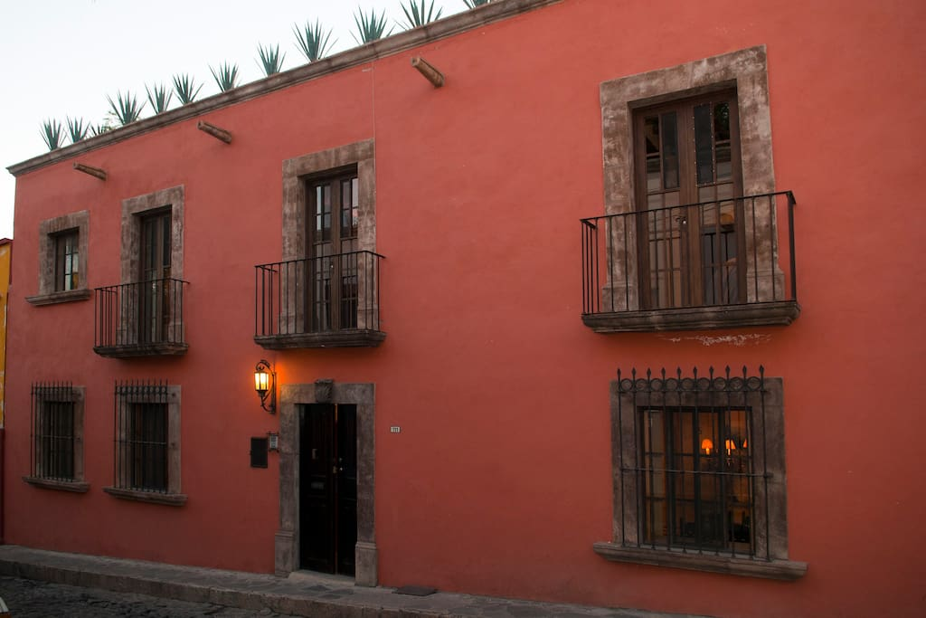 Casa Francisco facade at dusk